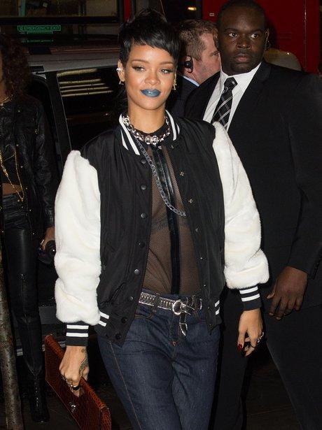 Rihanna wearing blue lipstick
