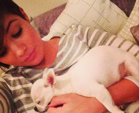 Frankie Sandford and dog