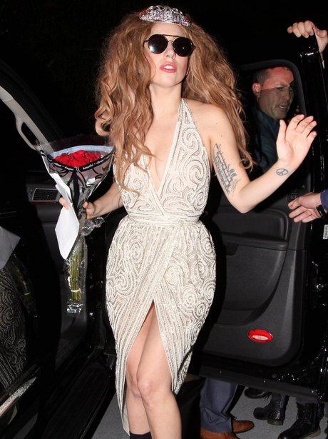 Lady Gaga wearing a sequin dress