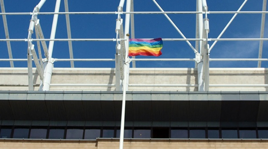 Rainbow flag at Sunderland Stadium Of Light