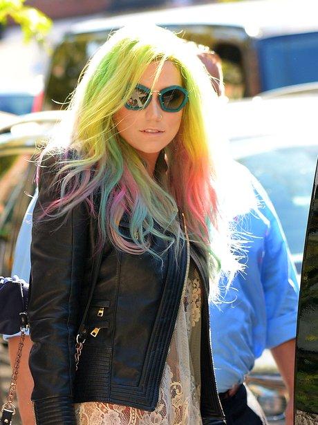 Ke$ha steps with multicolored hair