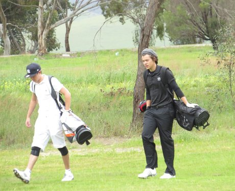 Niall Horan and Harry Styles play a round of golf