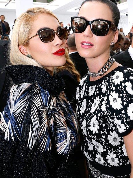 Katy Perry and Rita Ora at Paris Fashion Week