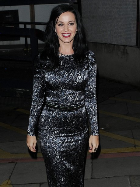 Katy Perry wearing a tight silver dress
