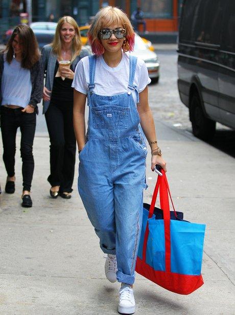 Rita Ora wearing dungareese