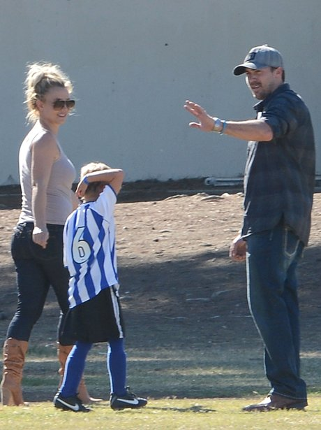 Britney Spears with her boyfriend and son