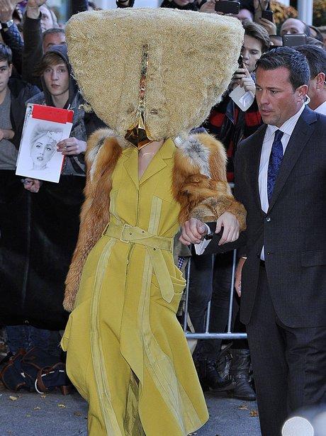 Lady Gaga wearing a mask
