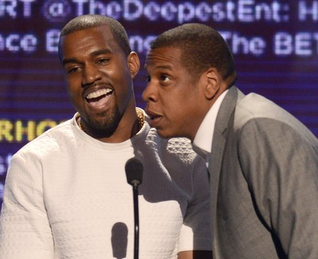 Jay Z and Kanye West accept an award together
