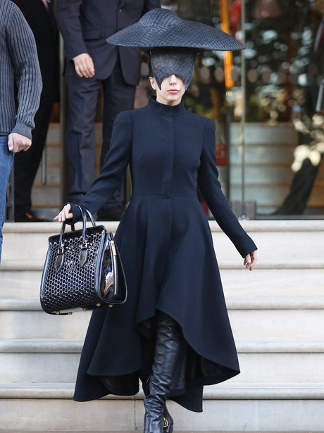 Lady Gaga wearing a black outfit in London
