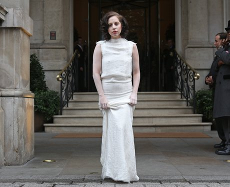 Lady Gaga wears all white in London visit