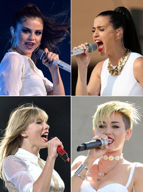 Selena, Katy, Taylor, Miley