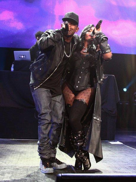 Lil' Kim and Kendrick Lamar perform onstage