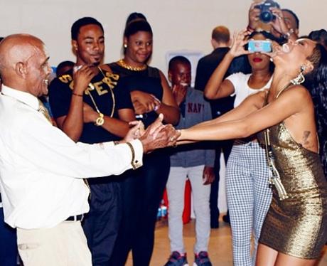 Rihanna at a family party