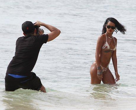 Rihanna in Barbados on a beach