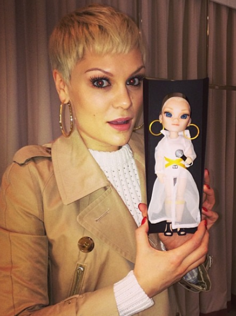 Jessie J with a personalised doll