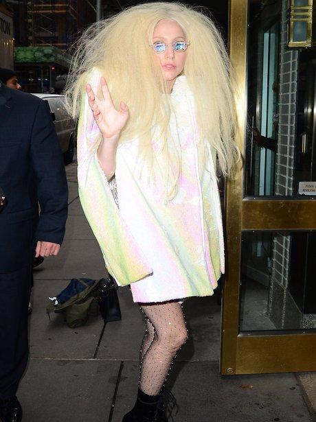 Lady Gaga wearign diamond glasses