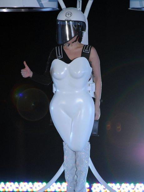 Lady Gaga wearing a flying dress