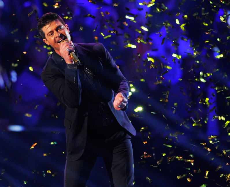 Robin Thicke performs live on stage at the MTV EMA