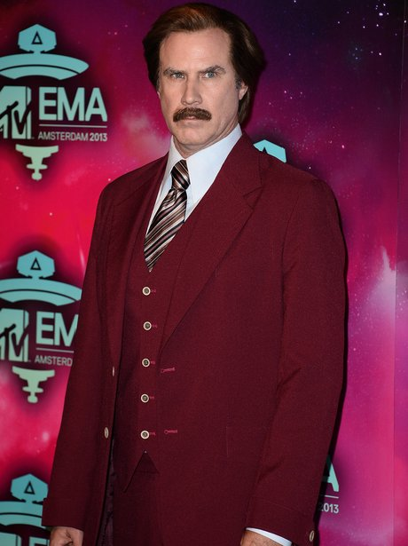 Will Ferrell arrives at the MTV EMAs 2013 as Anchorman's Ron Burgundy