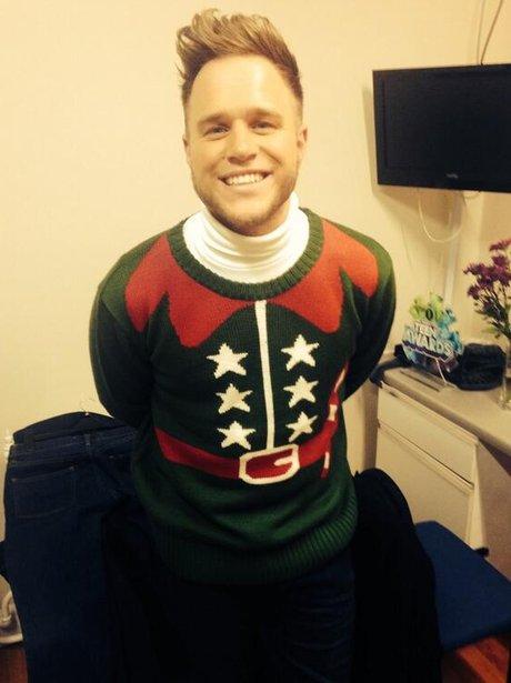 Olly Murs wears a Christmas jumper
