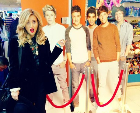 Perrie with One Direction cut out
