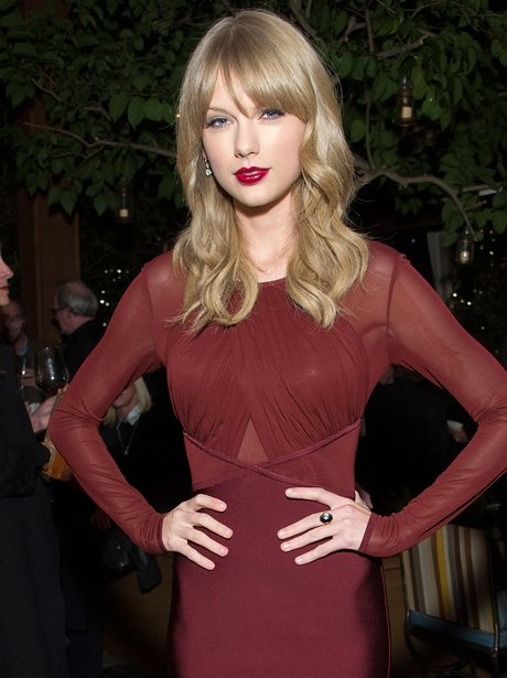 Taylor Swift in a red dress