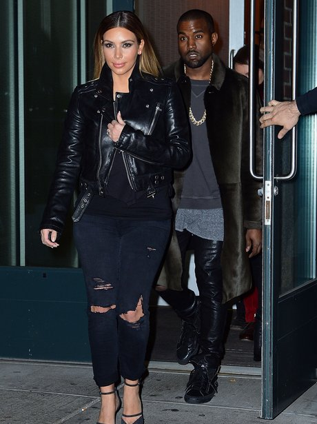 Kim and Kanye wearing matching Leather