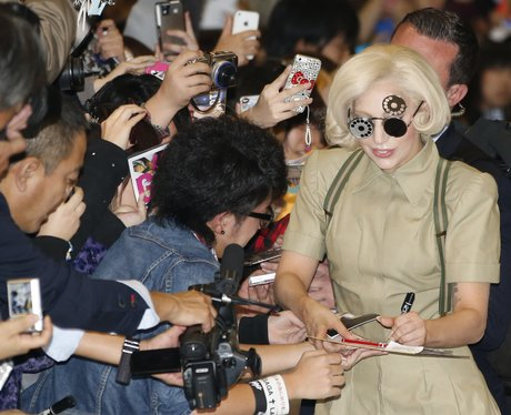 Lady Gaga with fans