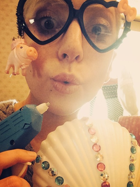 Lady Gaga wearing glasses