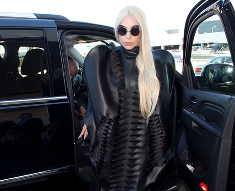 Lady Gaga wearing a leather outfit