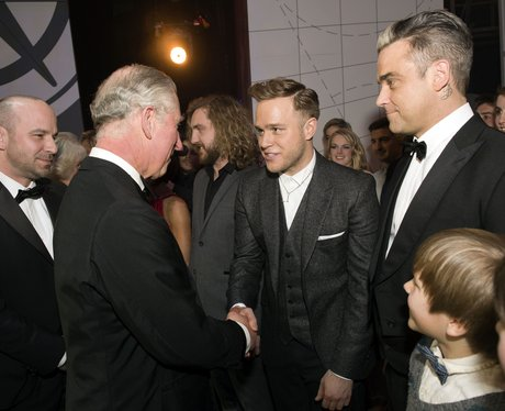 Olly Murs and Robbie Williams tak to Price Charles