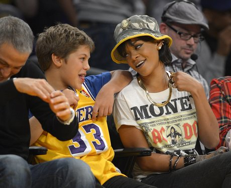 Rihanna watching the basketball