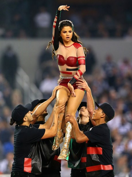 Selena Gomez performs during the halftime of a Th