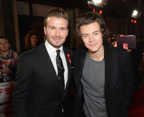 David Beckham and Harry Styles at film premiere