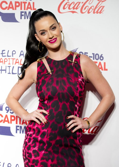 Katy Perry in a pink cheetah-print dress