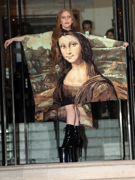 Lady Gaga wearing a Mona Lisa print dress
