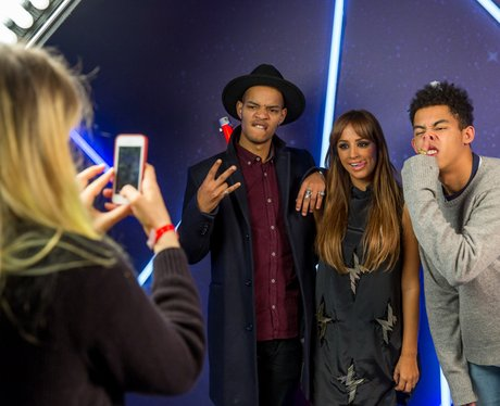 Rizzle Kicks and Max backstage at the Jingle Bell Ball 2013