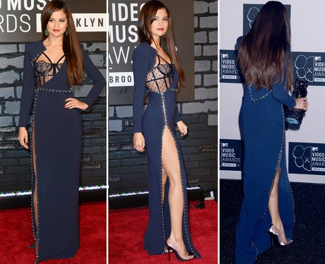 eb456d6b9a A daring high-cut blue number from Selena Gomez at the MTV VMAs 2013. Image  1  Best Red Carpet Looks ...