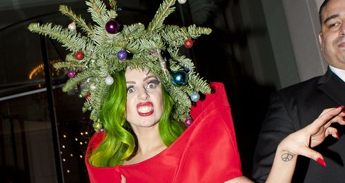 lady gaga wearing a christmas tree hat