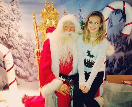 Little Mix's Perrie Edwards meets Santa Claus
