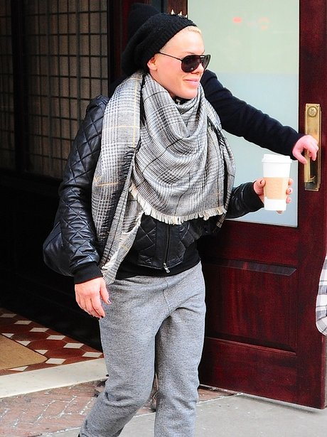 Pink leaving her hotel in London