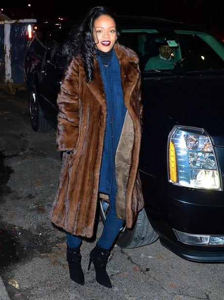 Rihanna wearing q fur coat