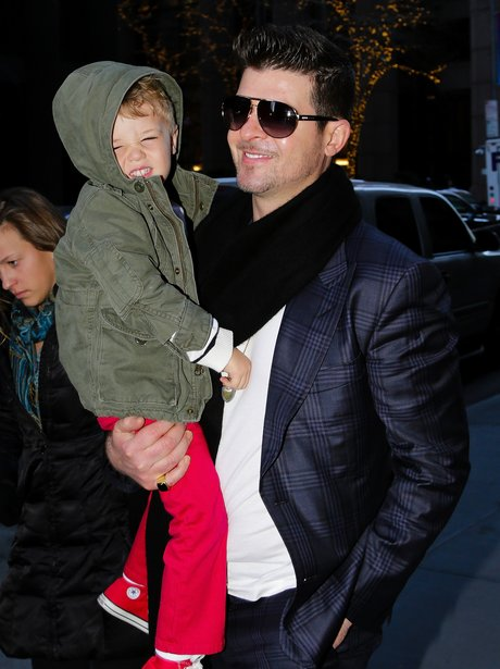 Robin Thicke with his son