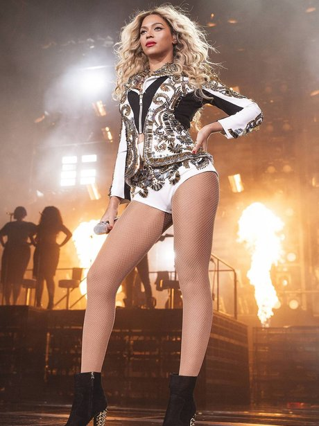 Beyonce performing on 'The Mrs Carter Show' world tour