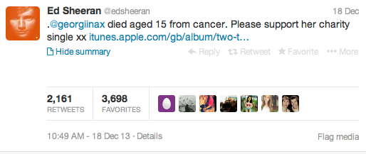 Georgina Anderson tweet Ed Sheeran