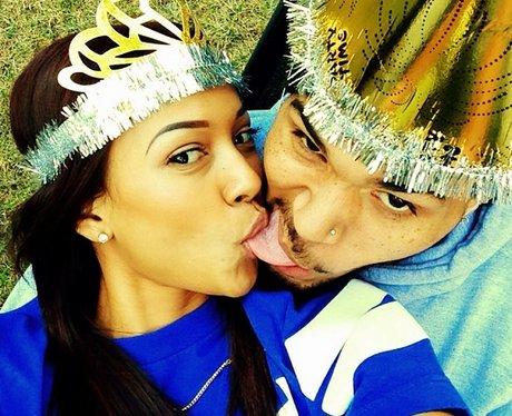 Chris Brown and Karrueche Tran kiss new years day