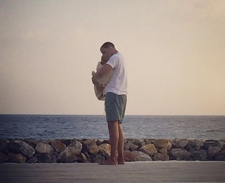 Marvin and baby girl on holiday