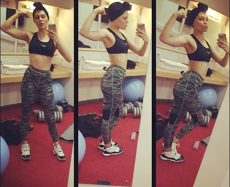Jessie J works out in the gym