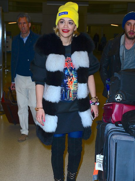 Rita Ora arrives at the airport