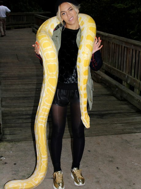 Beyonce poses with a snake
